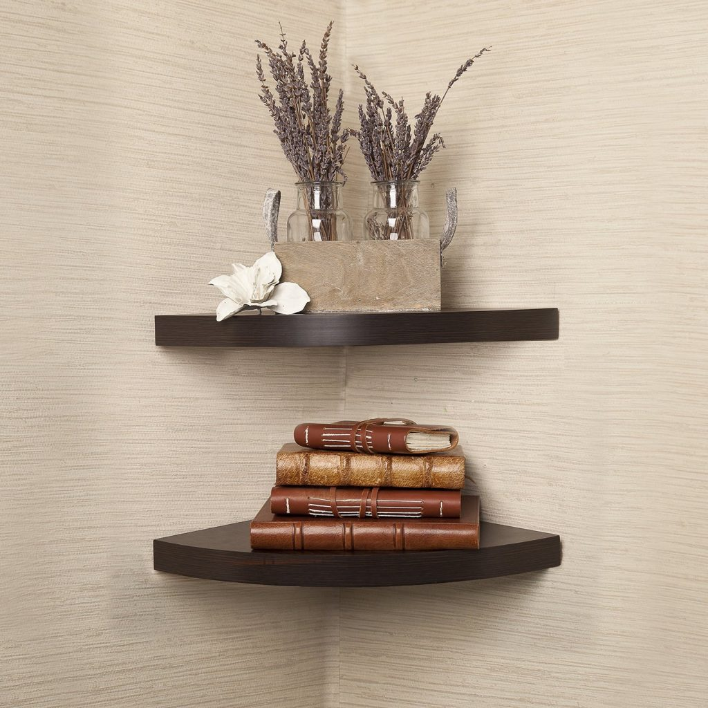 corner shelves walnut finish