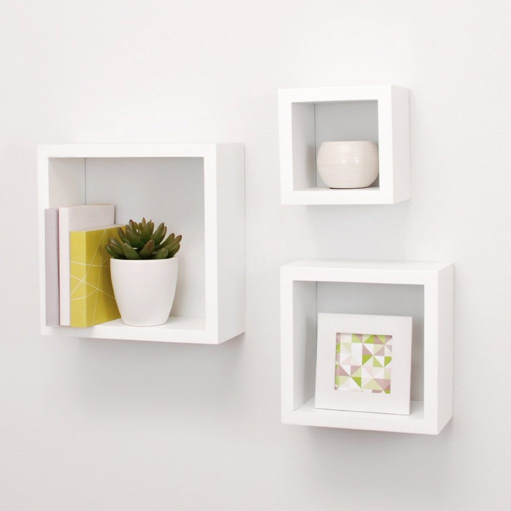 small shelves for wall white
