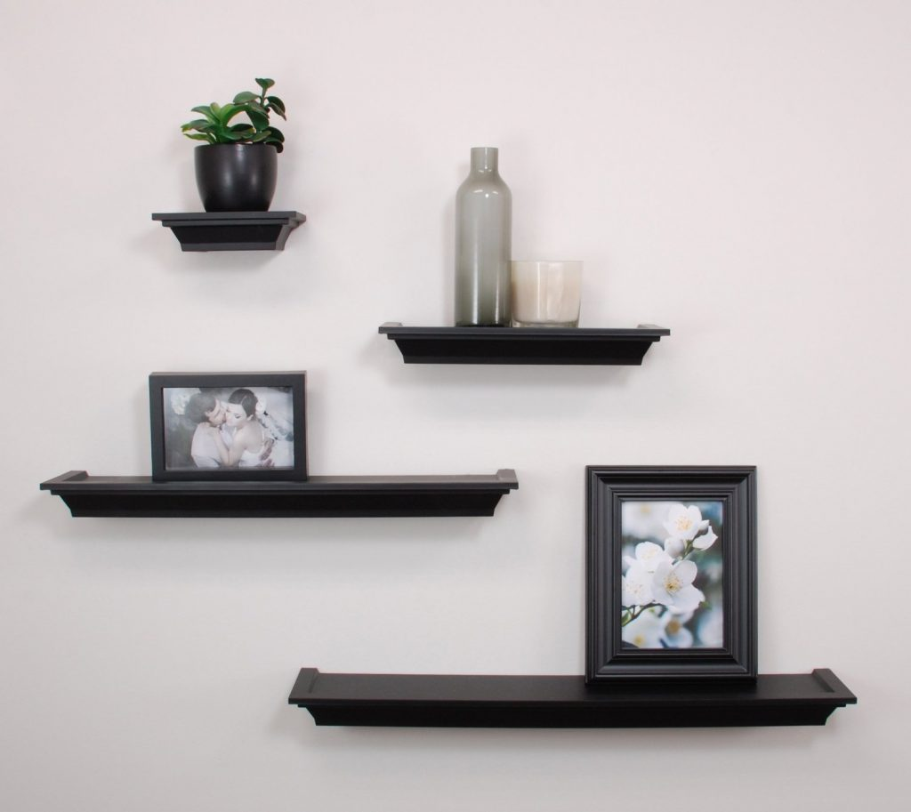 small wall shelves black