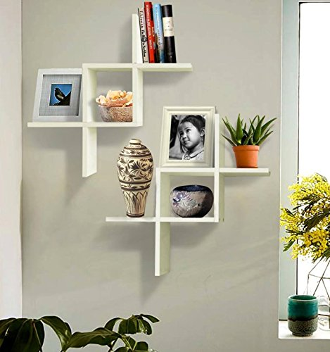 reverse criss cross white floating wall shelf