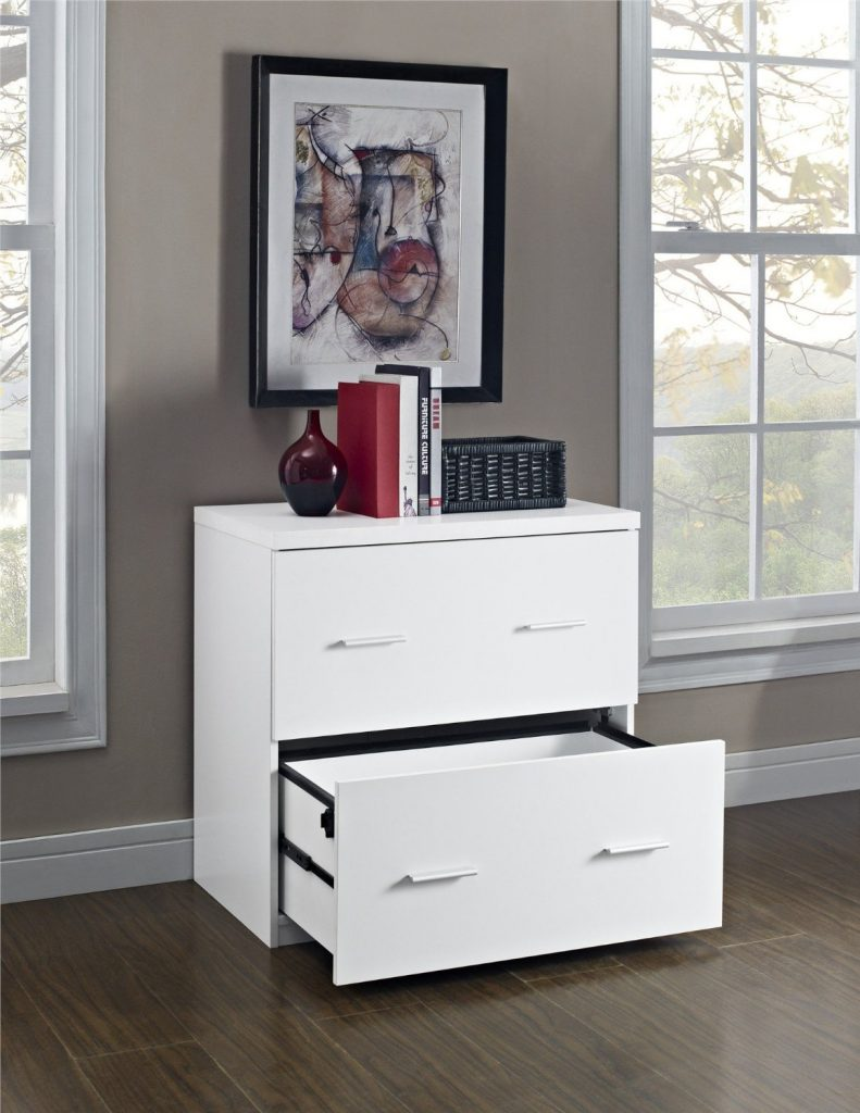 2 Drawer - White Lateral File Cabinet