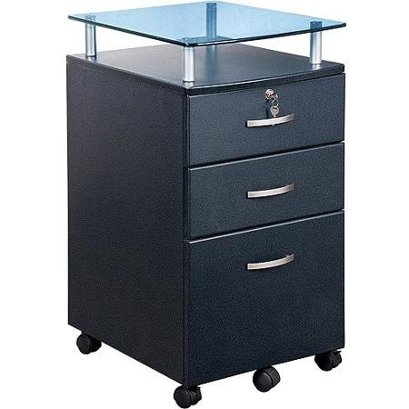 3 Drawer - Rolling File Cart - with Locks and Glass Top