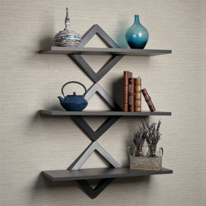 3 level black floating wall shelf