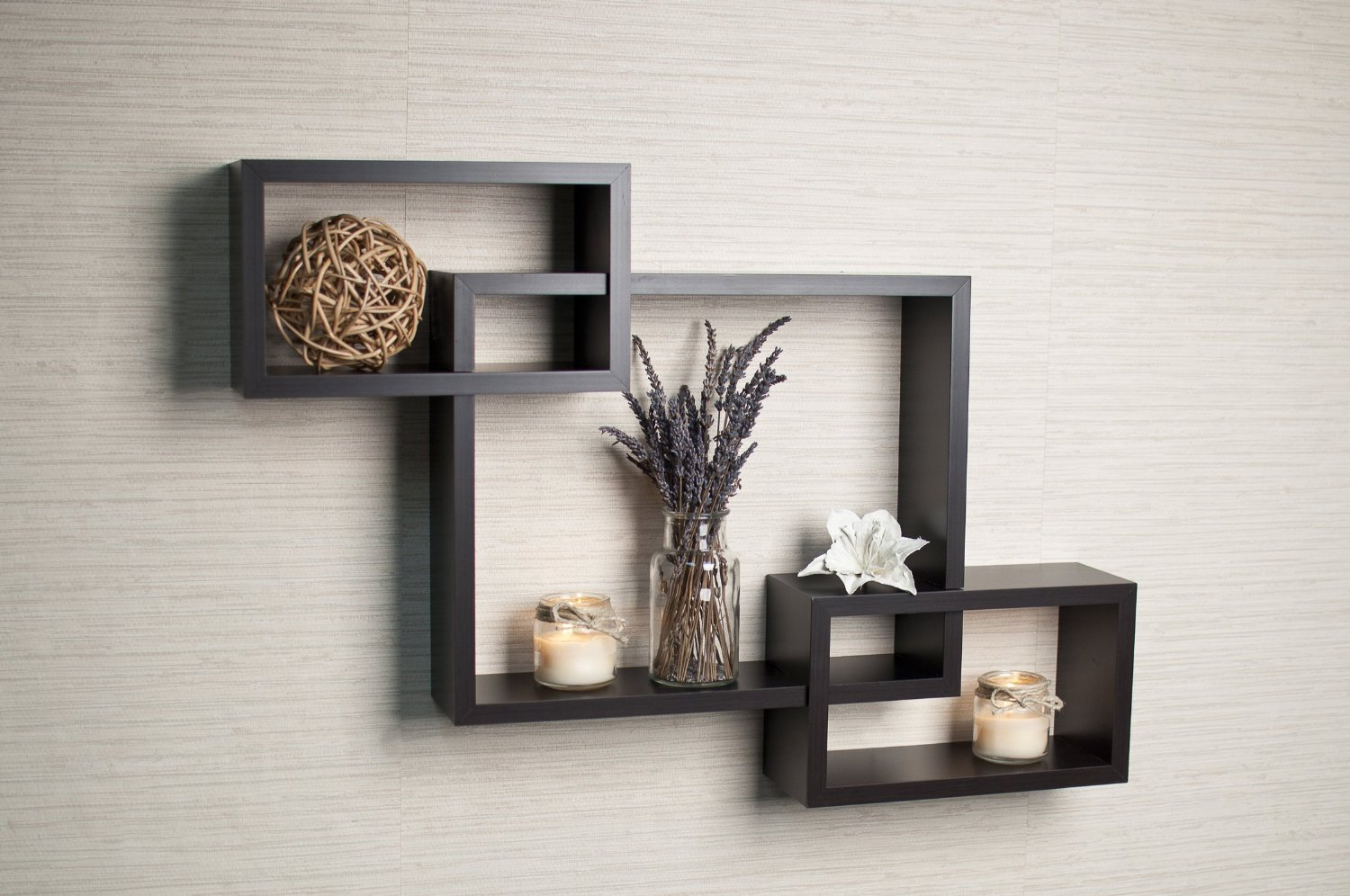Marvelous Danya B. Intersecting Espresso Color Wall Shelf