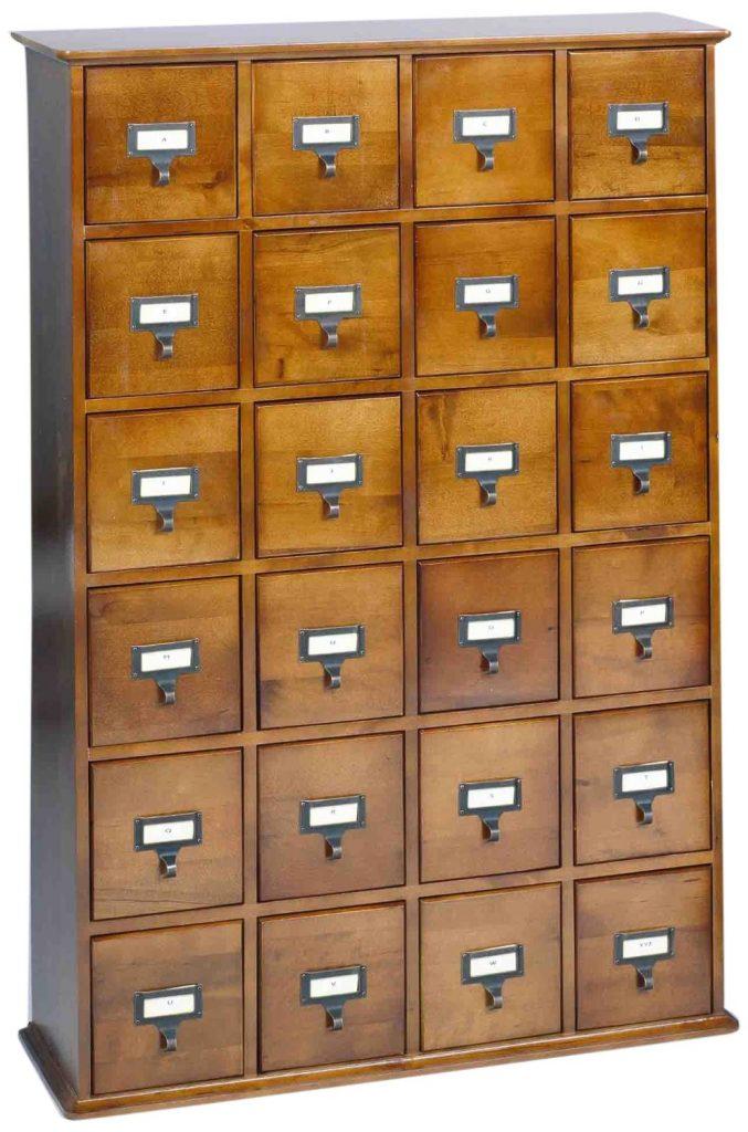 library 24 drawer multimedia cabinet shelf