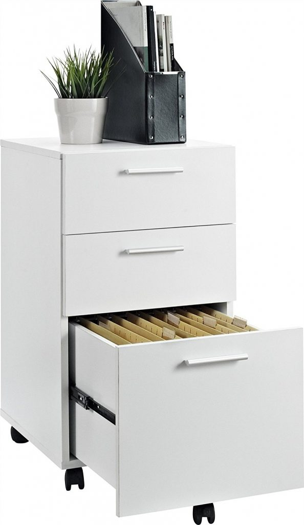 White Color Rolling File Cabinet 3 drawer