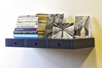 black floating drawer shelf