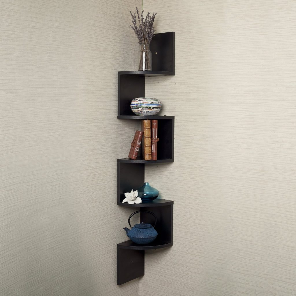 Black Corner floating wall shelf