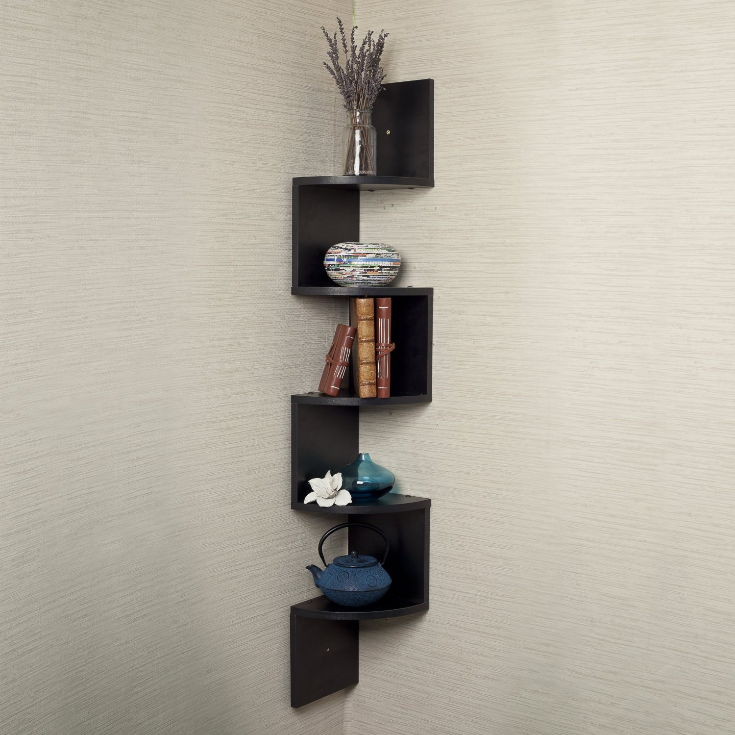 black corner floating shelf