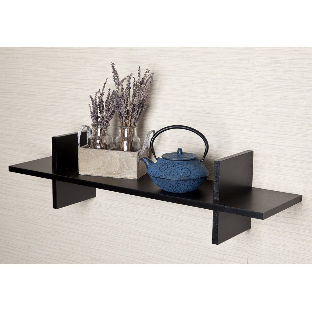decorative h shaped black floating wall shelf