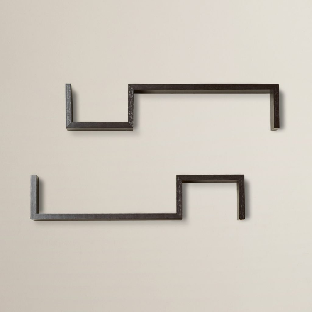 decorative s shaped black floating wall shelves