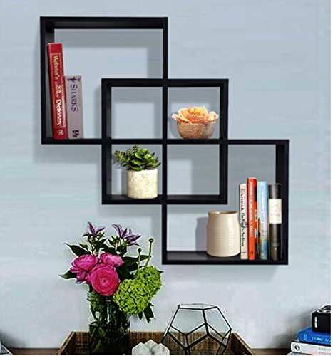 decorative square black floating shelf