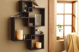 intersecting square black floating wall shelf