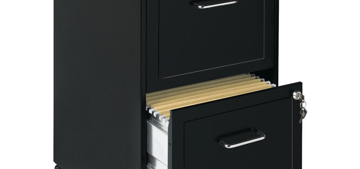 mobile metal file cabinet black 2 drawers