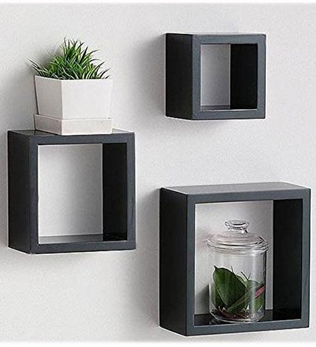 set of 3 black cube shelves - floating shelf