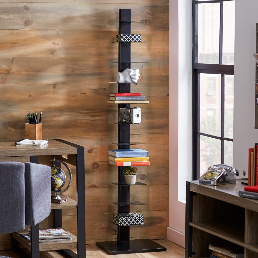 invisible spine tower bookcase