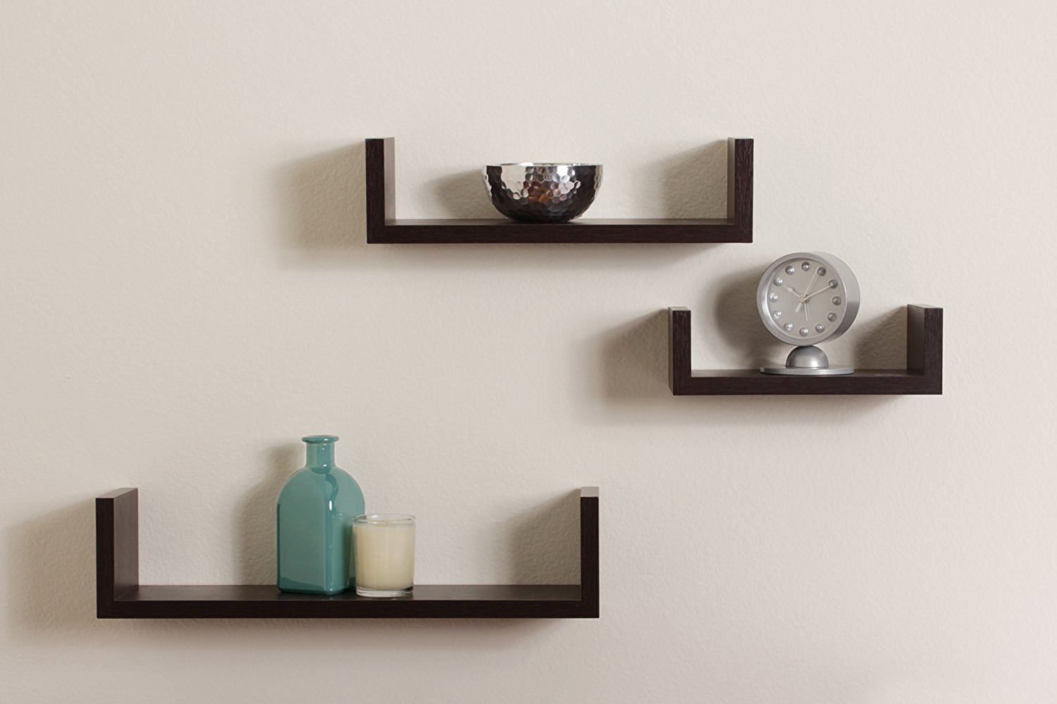 u shaped black floating wall shelf