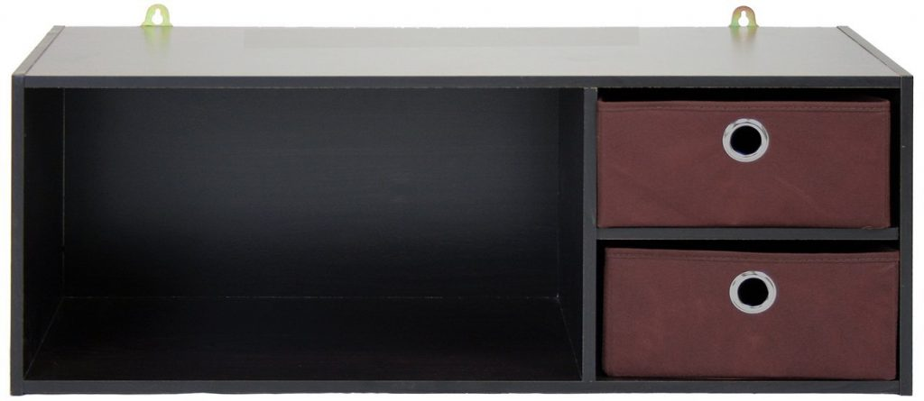 wall mounted floating shelf with 2 drawers