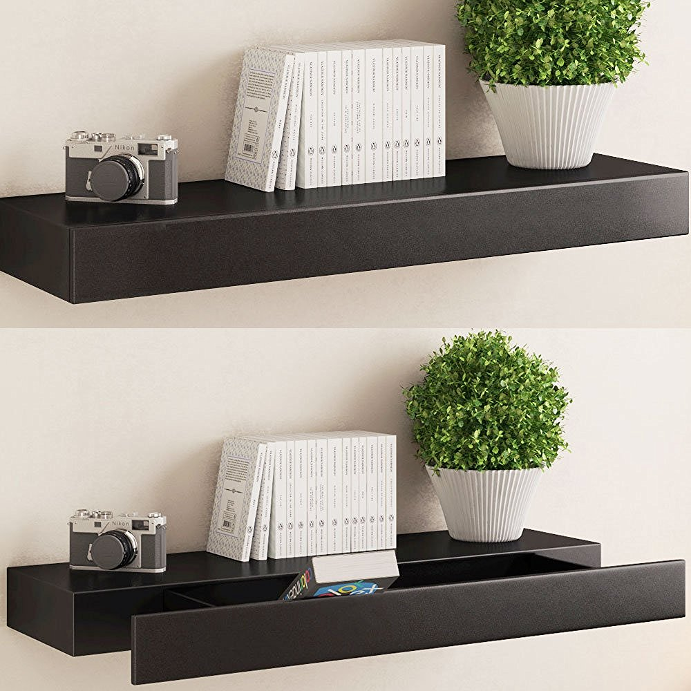 10 amazing floating shelves with drawers that make your home fascinating. Black Bedroom Furniture Sets. Home Design Ideas