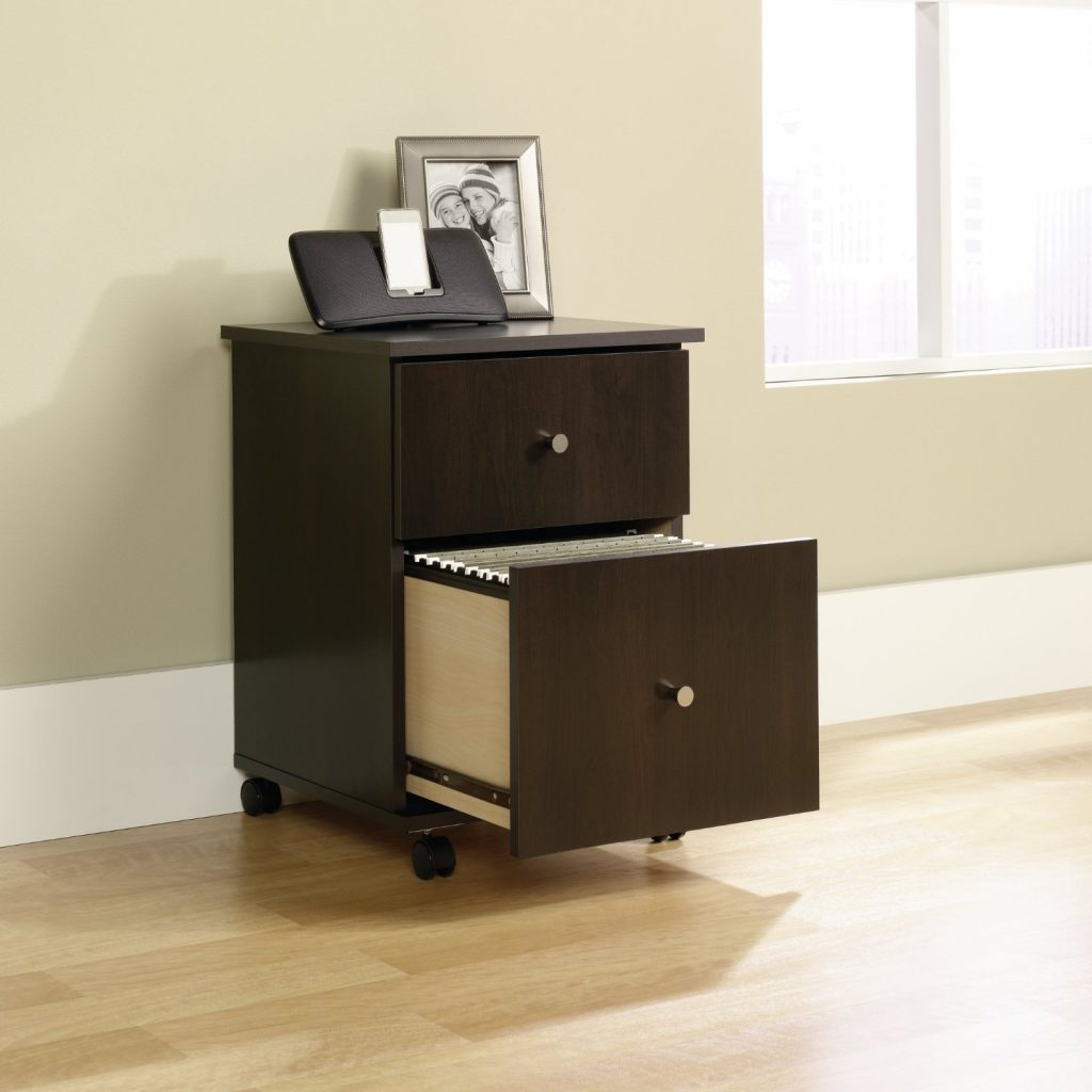 wooden rolling file cabinet with 2 drawers