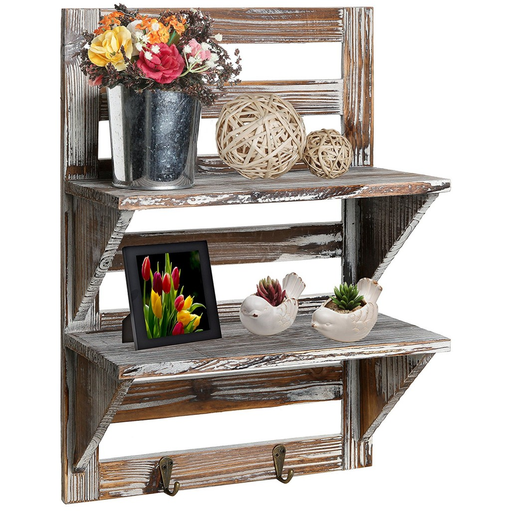 2 Tier Rustic Bathroom Shelf with Towel Holder