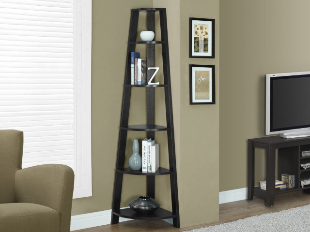 72 inch - Cappuccino Brown Corner Ladder shelf
