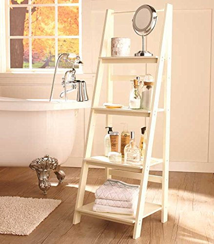 Antique White 4 Tier Bathroom Ladder Shelf
