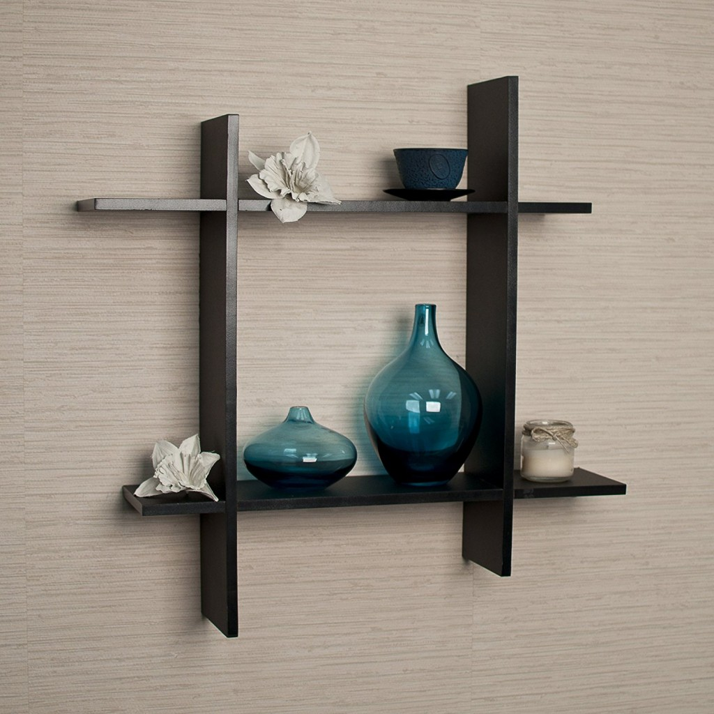 Top 15 floating wooden square wall shelves to buy online asymmetric black laminate square floating wall shelf amipublicfo Gallery