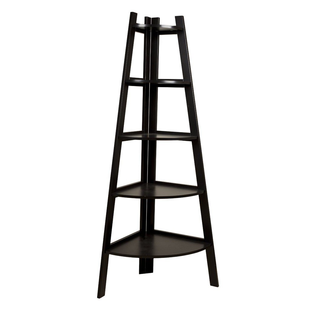 Black Corner Ladder Display Bookcase