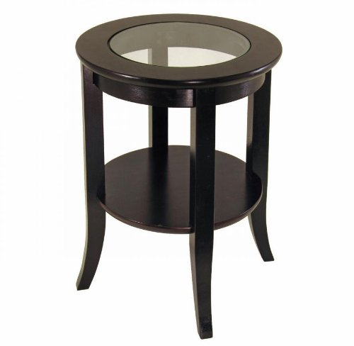 Genoa End Table with Glass Top shelf