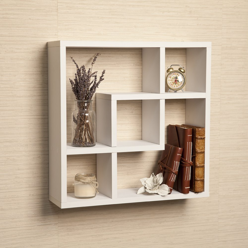 Geometric Wooden Floating Square Wall Shelf