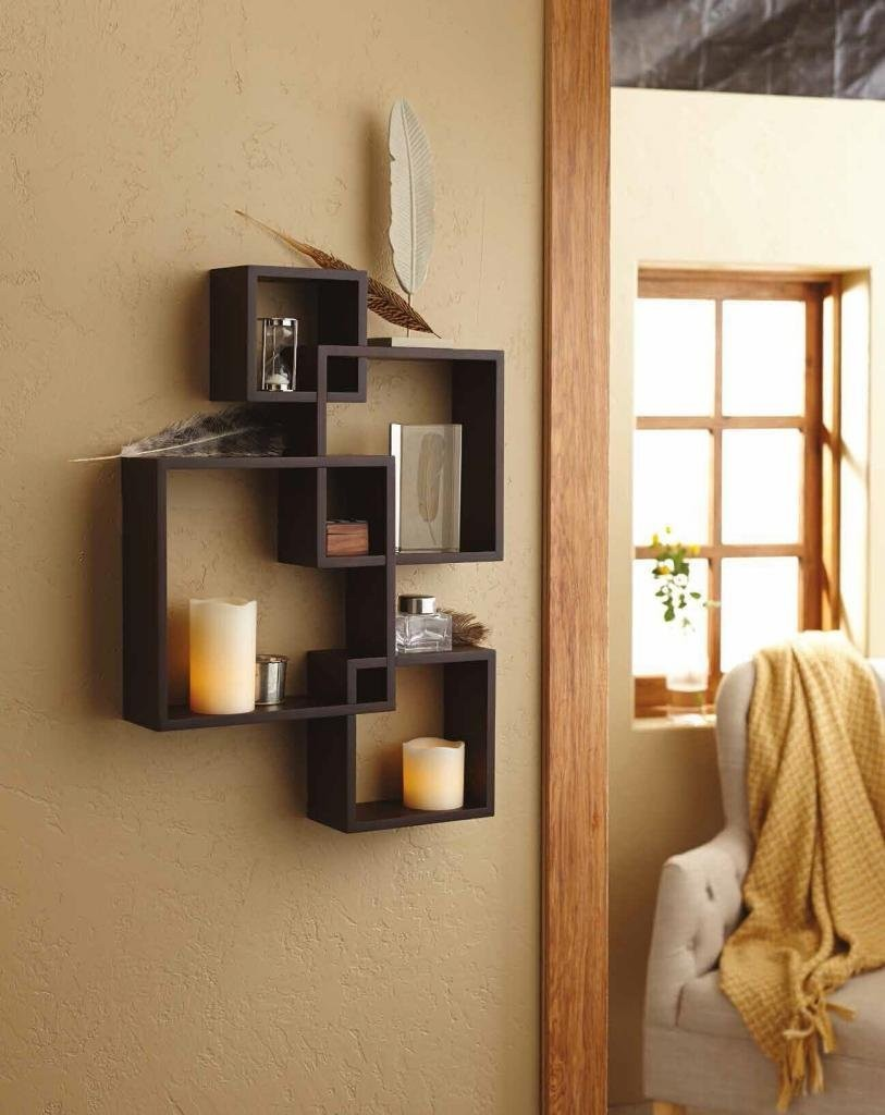 Intersecting Decorative Espresso Color Wall Square Shelf