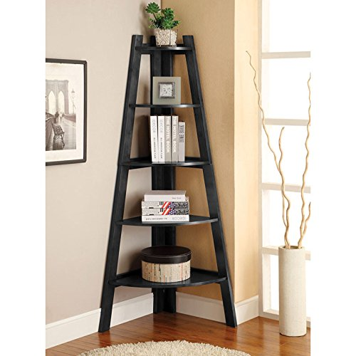Lyss - 5 Tier Black Corner Ladder Shelf