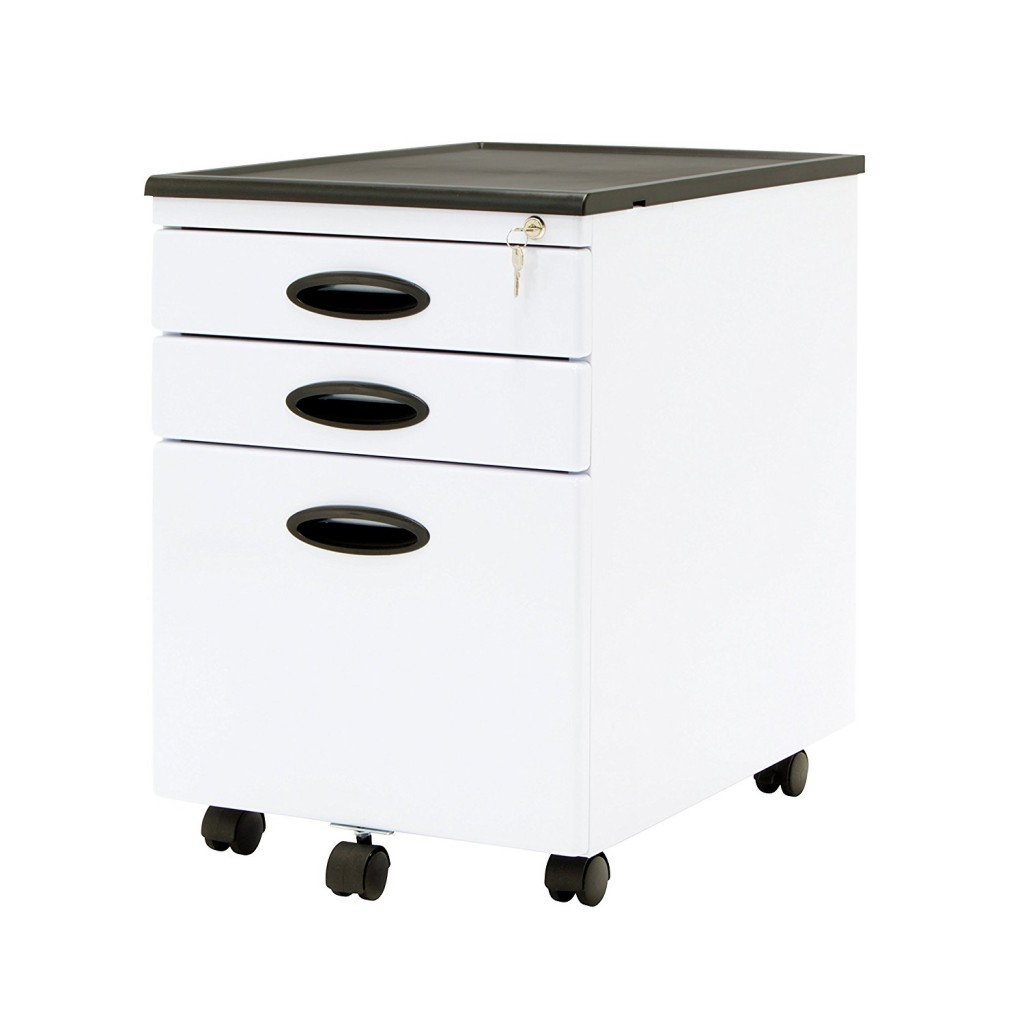 Mobile - 3 Drawer White File Cart with Locks
