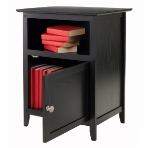 Night Stand Table with Shelves Under and Door