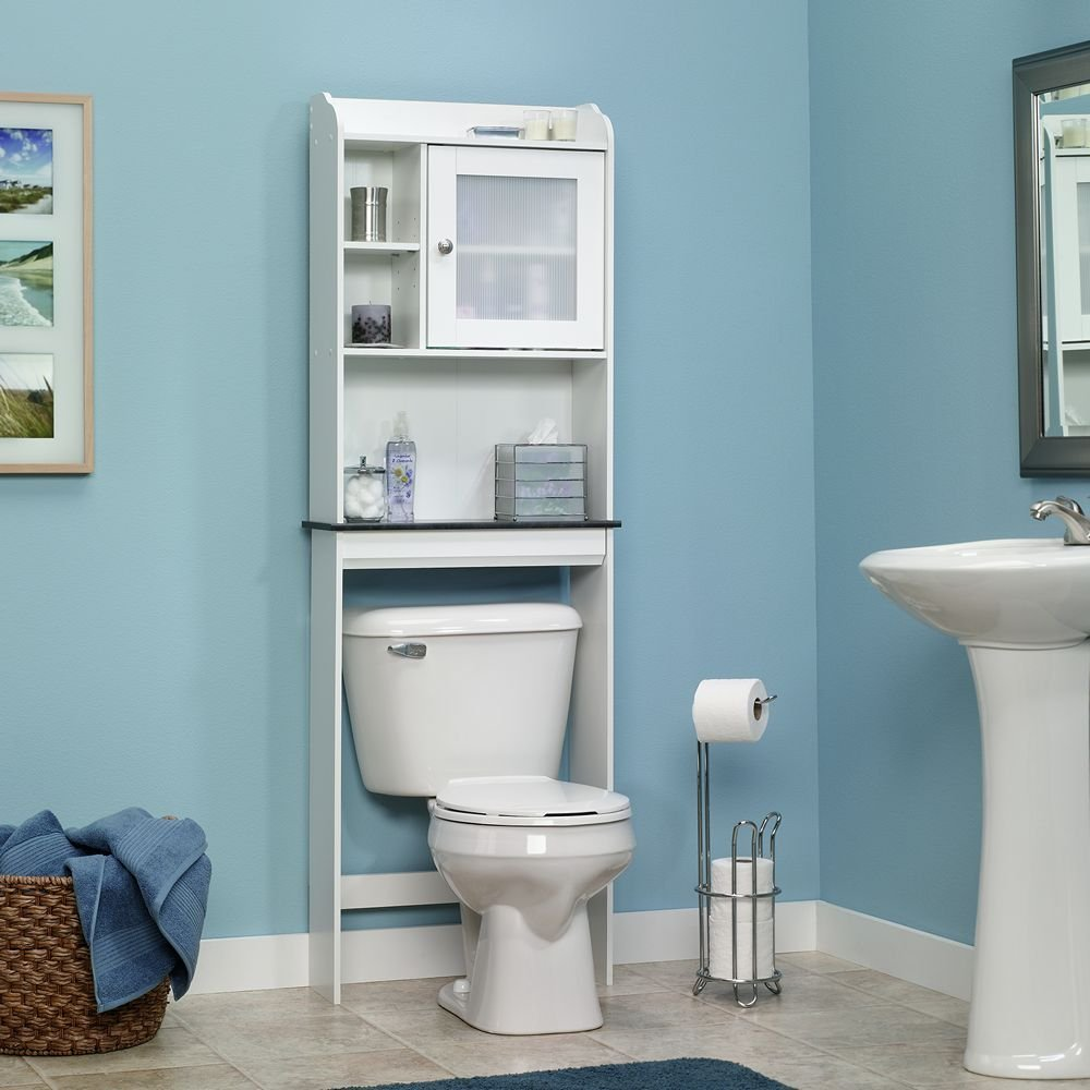 Over the toilet cabinet with soft white finish -