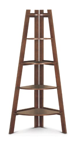 Pondex - Walnut based 5 Tier Corner Ladder Shelf