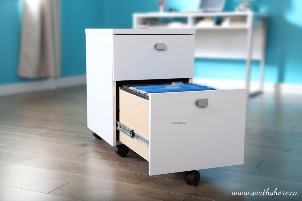 Portable/Mobile - 2 Drawer White Filing Cabinet