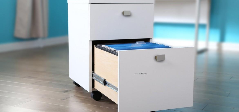 Portable/Mobile - 2 Drawer White Filing Cabinet