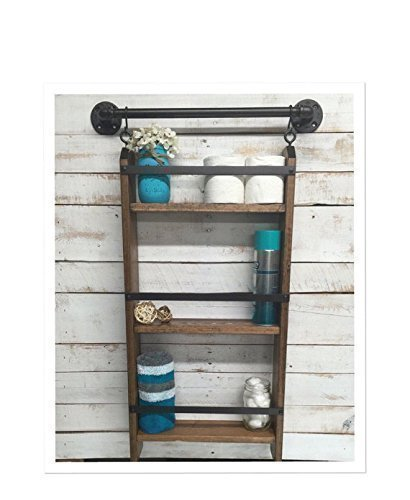 Rustic Bathroom Ladder shelf with Towel Bar