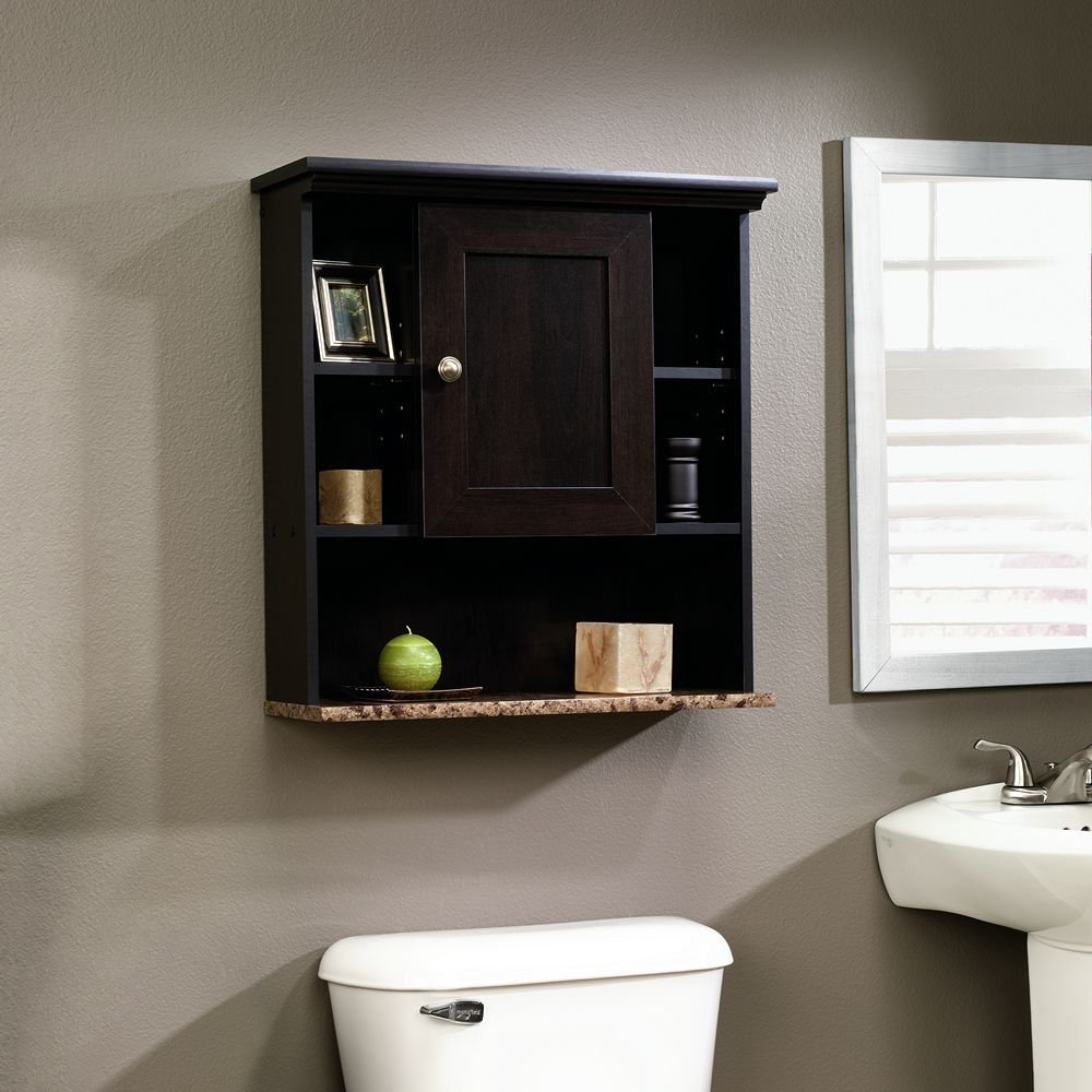 Sauder Wall Cabinet, Cinnamon Cherry Finish