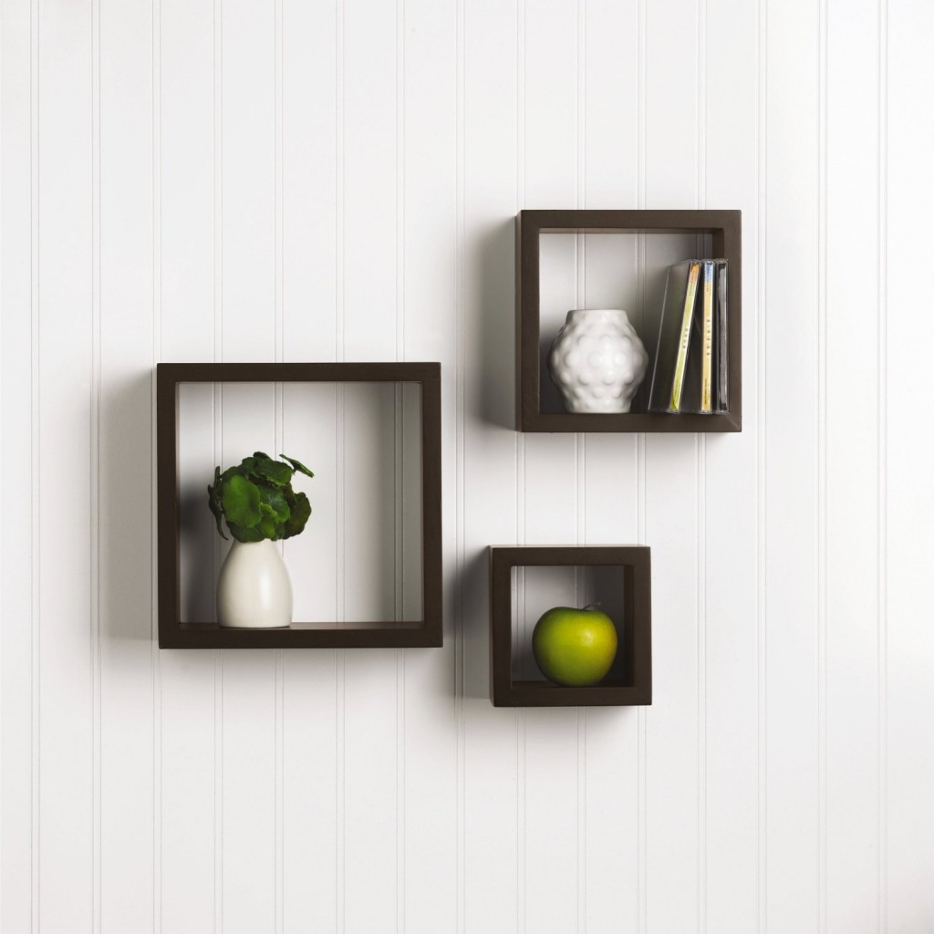 Set of 3 Square Wood Shelves, Espresso