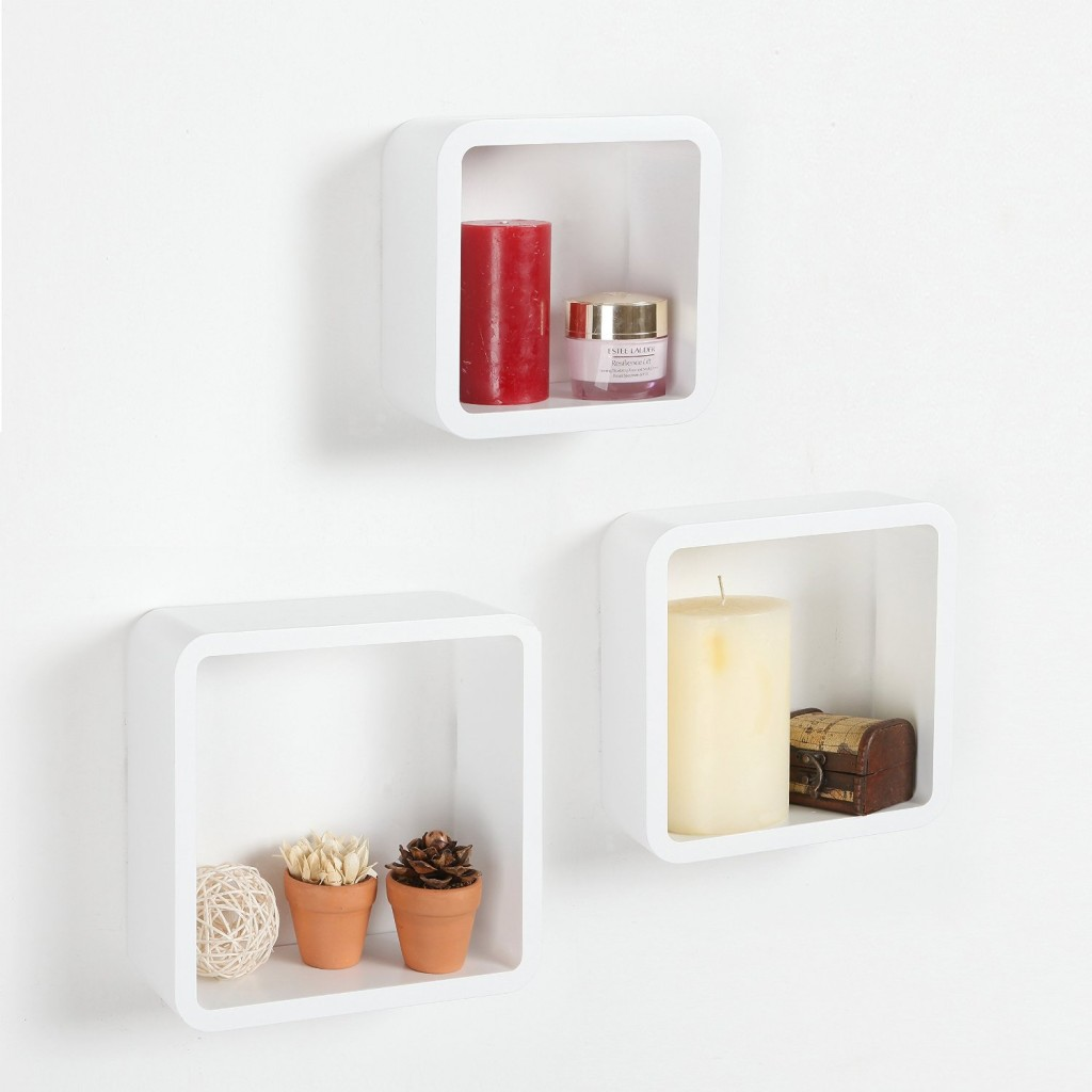 et of 3 Wall Mounted White Modular Square Wood Storage Shelves