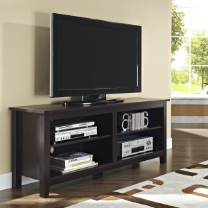 TV storage console table with 4 shelves underneath