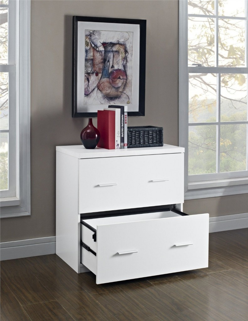White Color Lateral File Cabinet - 2 drawers