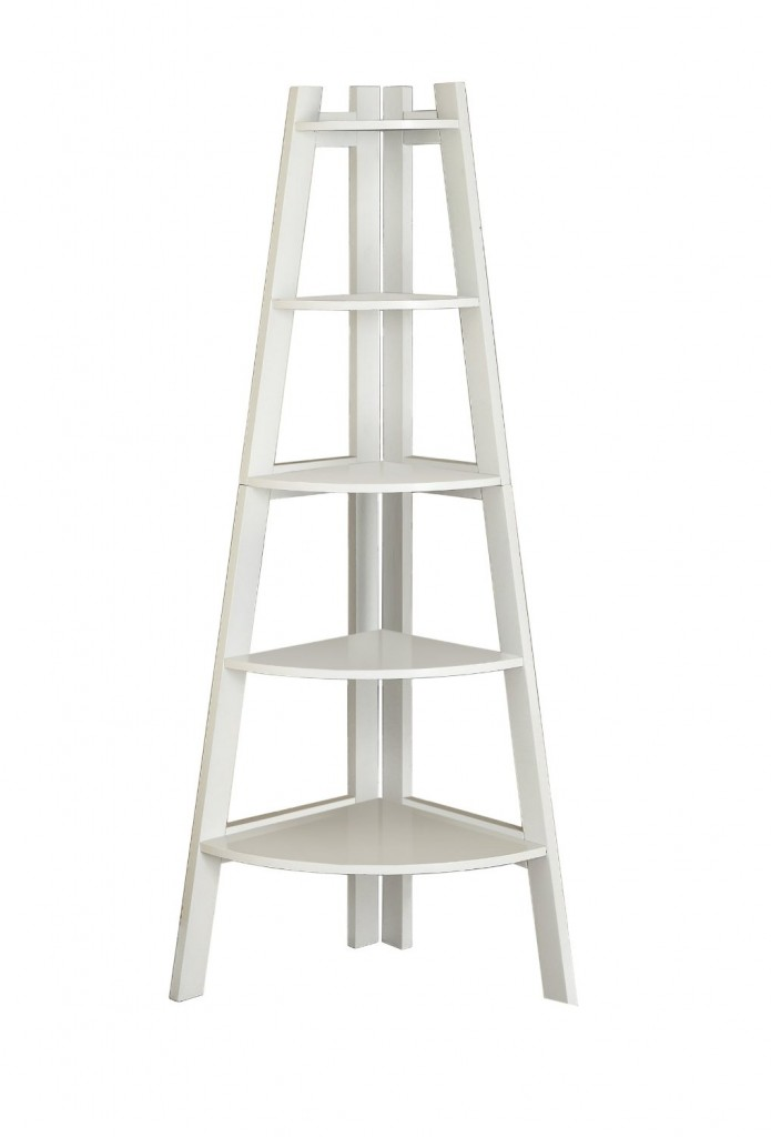 White Corner Ladder Bookshelf
