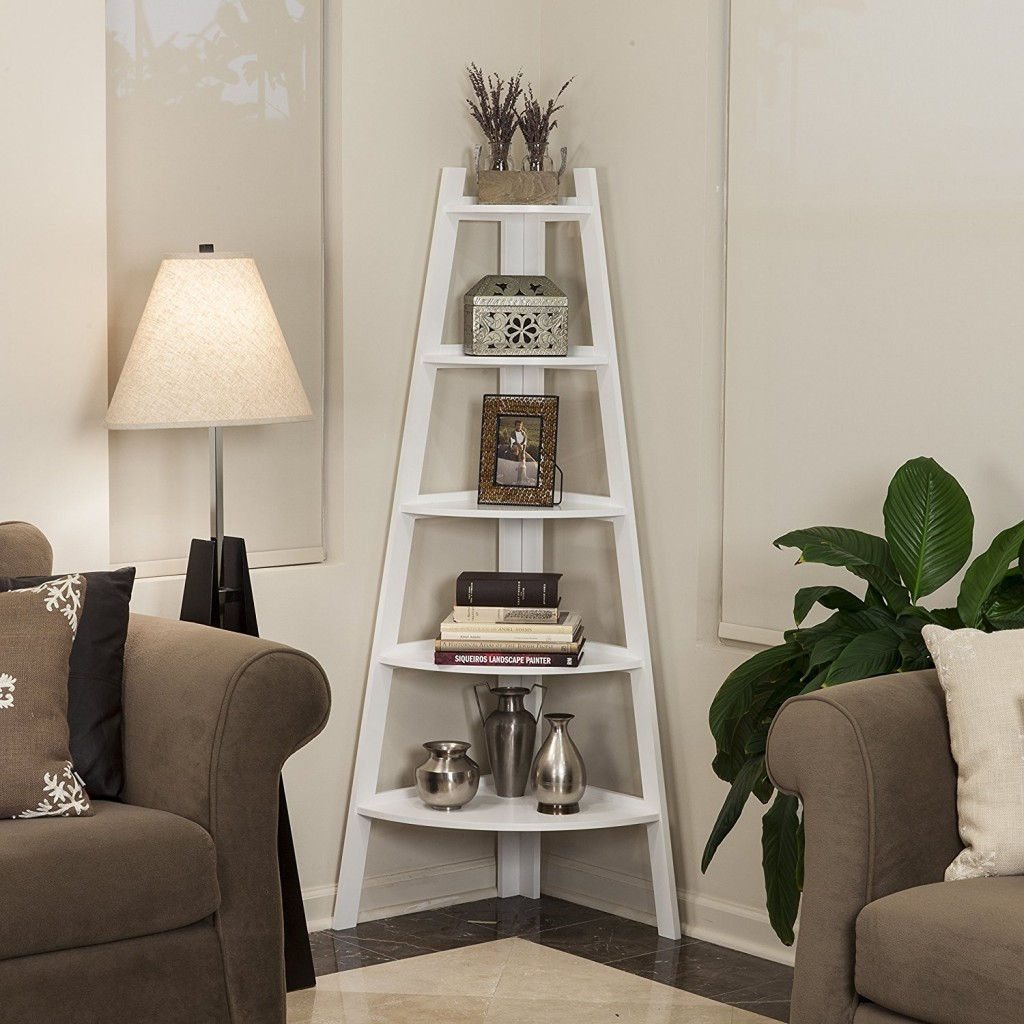 White Corner Ladder Shelf