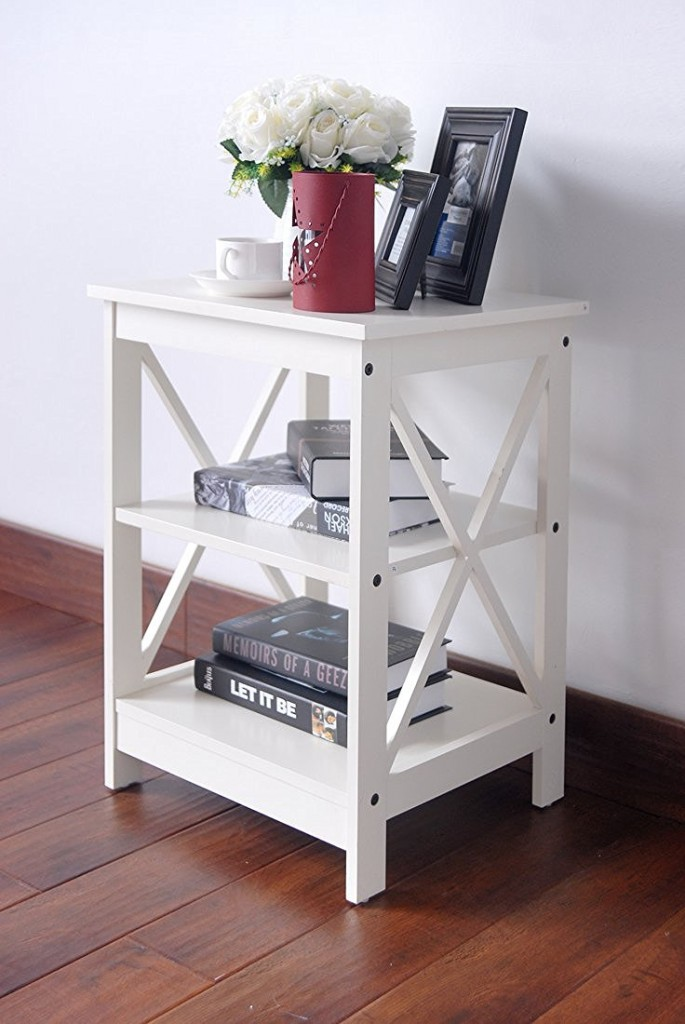 White Finish End Table with 3 Tier Shelf