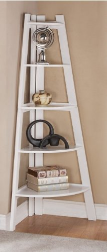 White Ladder Corner Display Shelf