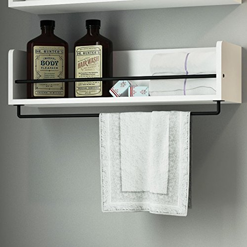 White Rustic Bathroom Wood Wall Shelf
